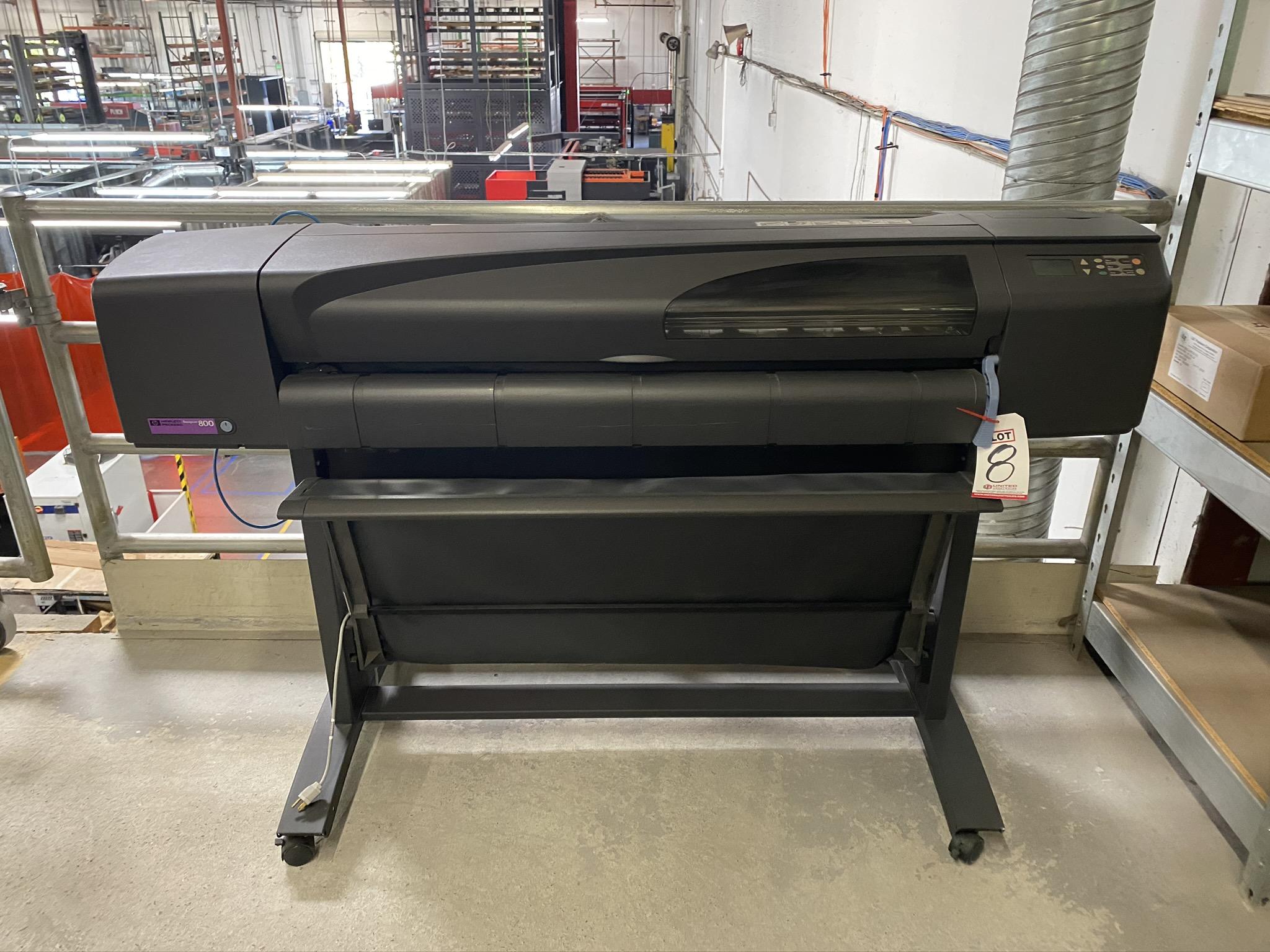 HP DESIGN JET 800 PLOTTER, MODEL C7780B, S/N SG0952201K