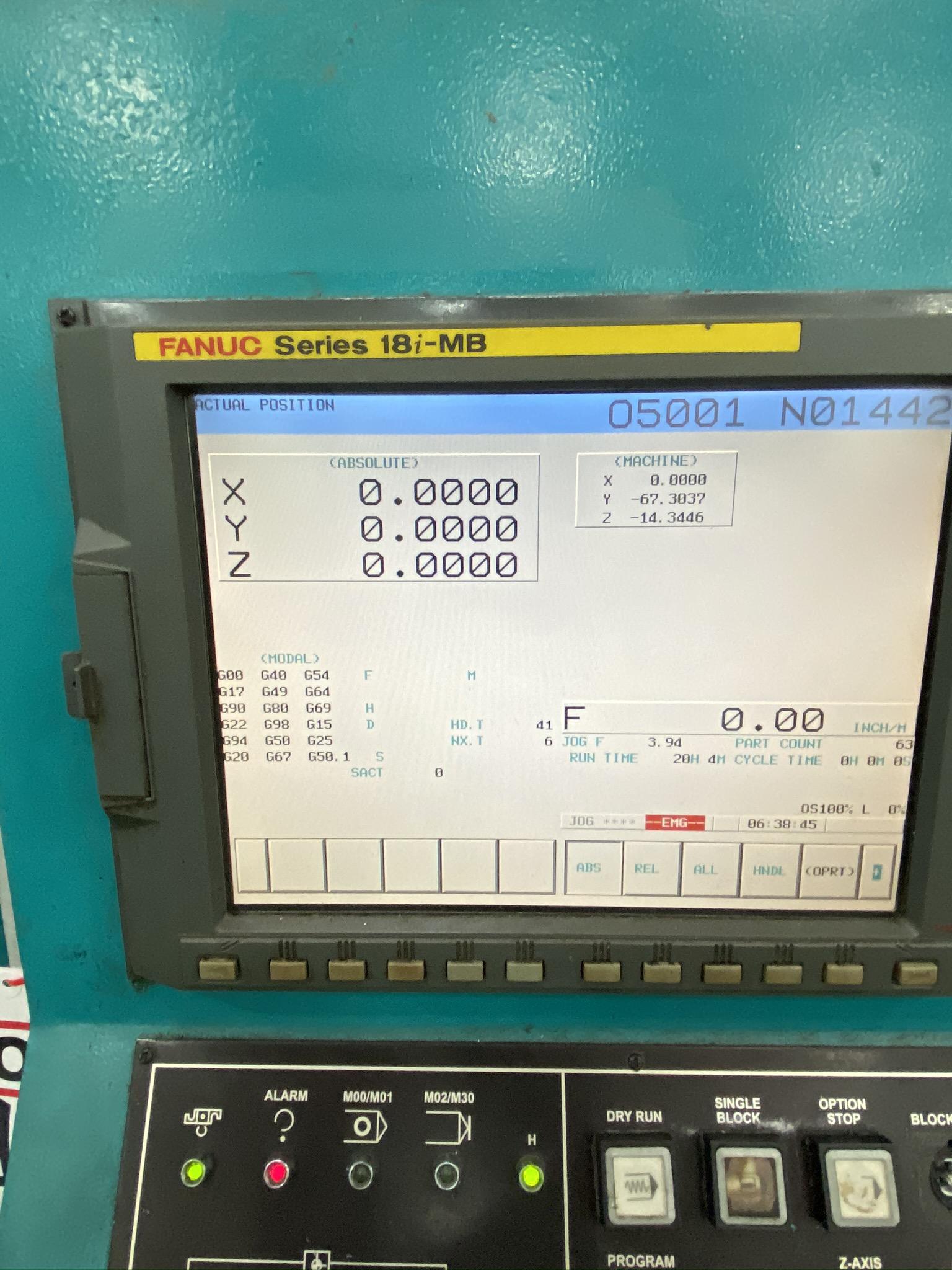 2005 SIGMA CNC DOUBLE COLUMN MACHINING CENTER, MODEL SDV-3219, FANUC 18IMB CNC CONTROL - Image 6 of 31