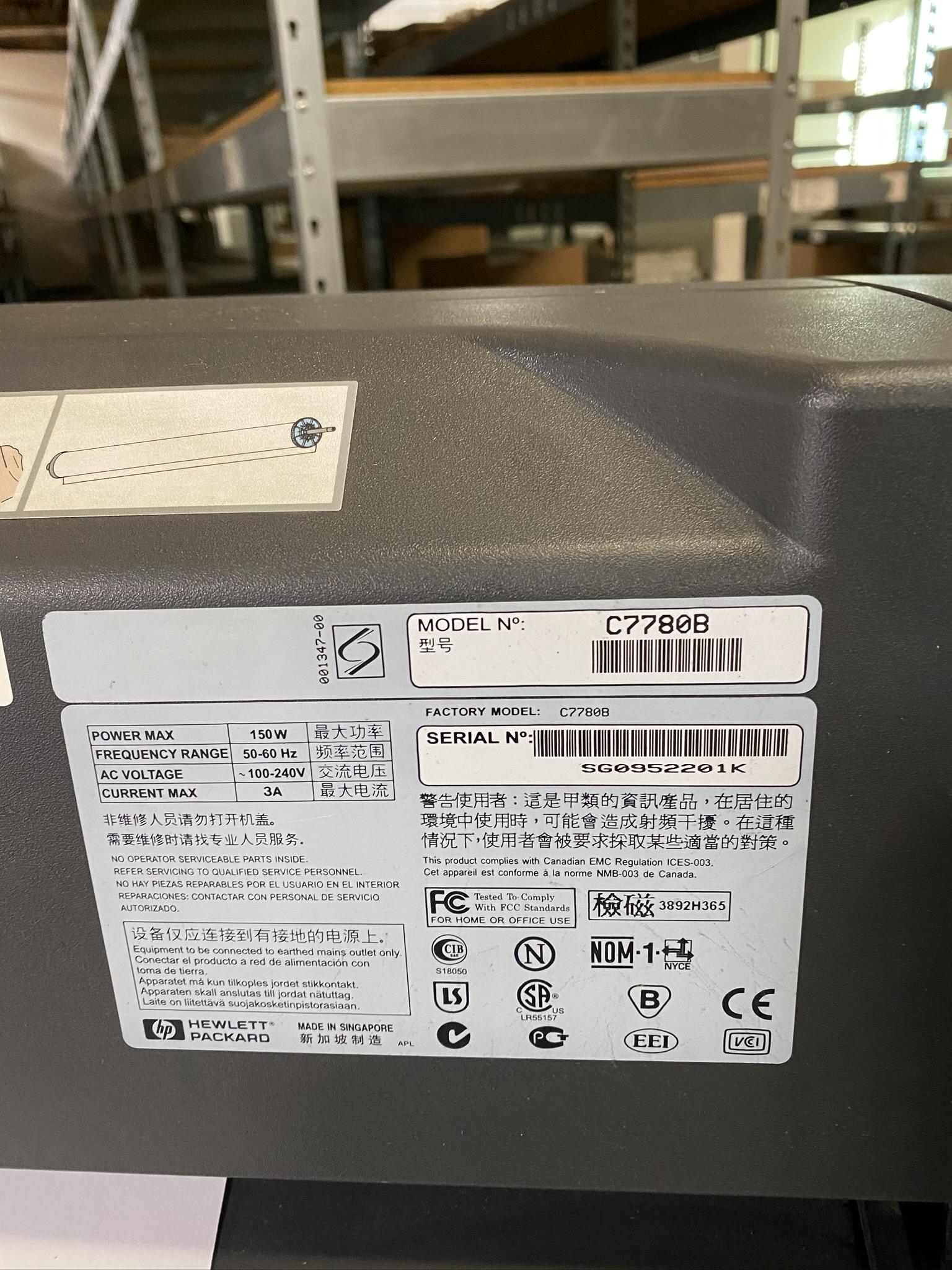 HP DESIGN JET 800 PLOTTER, MODEL C7780B, S/N SG0952201K - Image 4 of 4