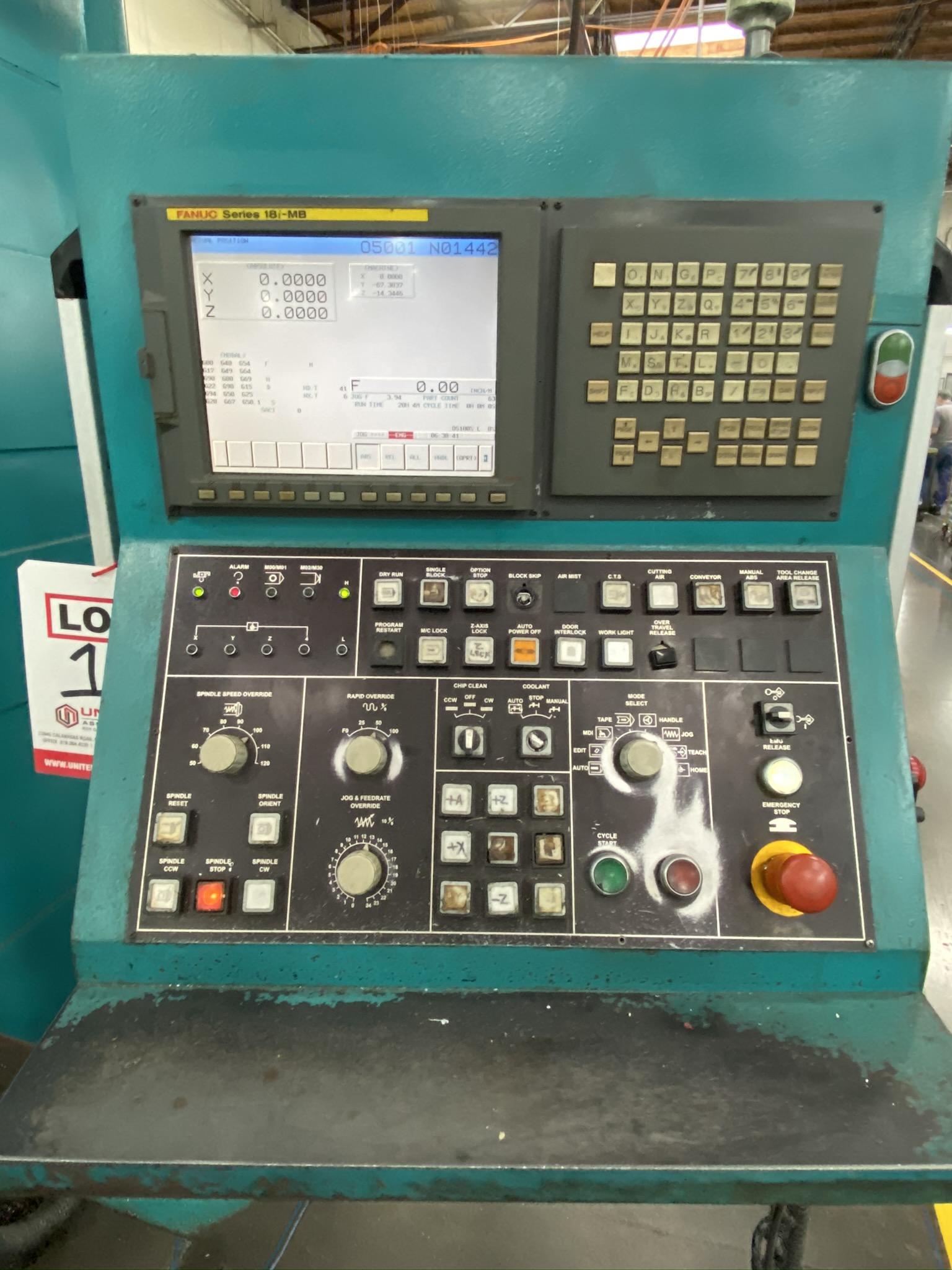 2005 SIGMA CNC DOUBLE COLUMN MACHINING CENTER, MODEL SDV-3219, FANUC 18IMB CNC CONTROL - Image 4 of 31