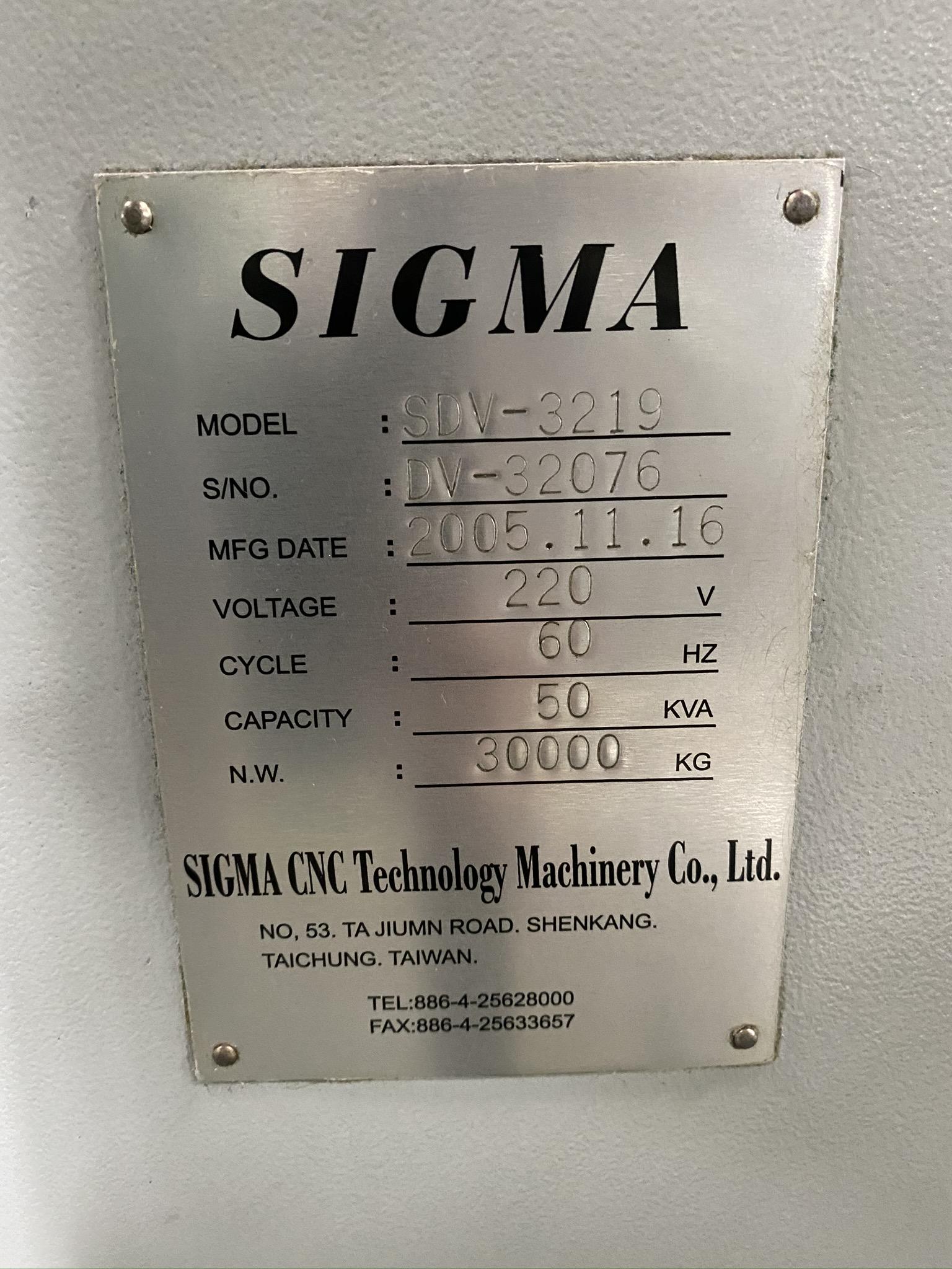 2005 SIGMA CNC DOUBLE COLUMN MACHINING CENTER, MODEL SDV-3219, FANUC 18IMB CNC CONTROL - Image 31 of 31