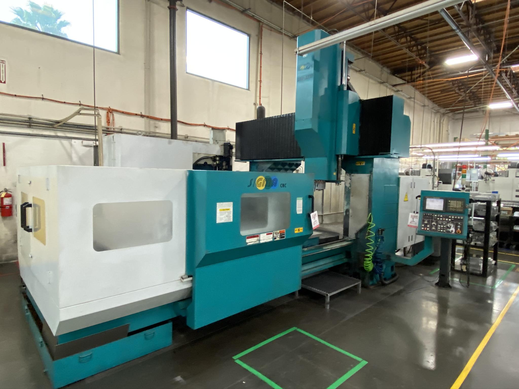2005 SIGMA CNC DOUBLE COLUMN MACHINING CENTER, MODEL SDV-3219, FANUC 18IMB CNC CONTROL