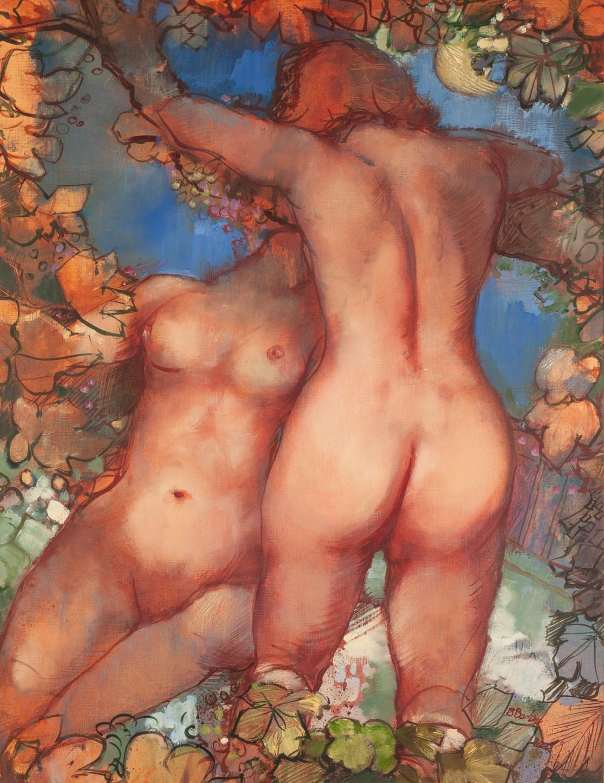 Lot 8 - BOHUSLAV BARLOW (b. 1947) OIL ON ARTIST BOARD ?Silent Conversation? two naked female figures