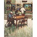 CRABTREE (TWENTIETH CENTURY) OIL ON BOARD Gallery interior with a man sat at a table with a dog at