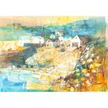 """MIKE BERNARD R.I. (1957) MIXED MEDIA ON BOARD """"CADGWITH, CORNWALL"""" signed lower right and"""