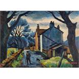 STANLEY FRYER (1906 - 1983) OIL PAINTING ON BOARD 'Long Lane, Cheshire' Signed lower right, titled