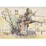 """STANLEY FRYER (1906 - 1983) WATERCOLOUR DRAWING 'Lyme Cage, Lyme Park, Disley' Signed 14 1/2"""" x 20"""