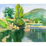 H. W. CRITCHLEY OIL PAINTING ON CANVAS A plein-air Continental river landscape with a church