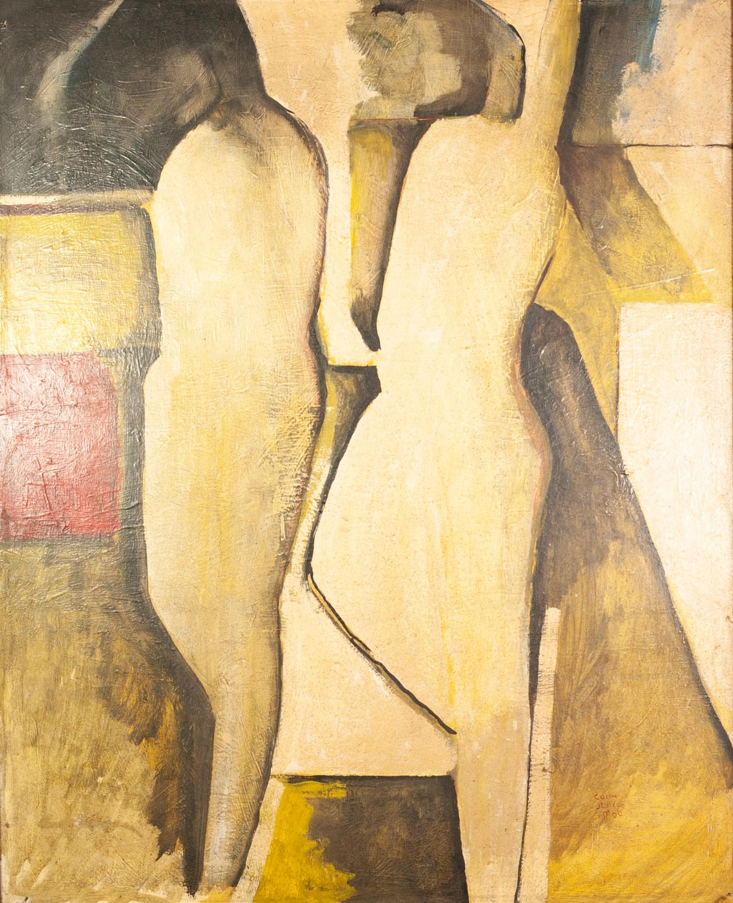 COLIN JELLICOE (1942-2018) OIL ON BOARD Abstract- two figures Signed and dated 1966 32? x 25 ½? (