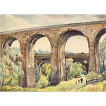 STANLEY FRYER (1906 - 1983) WATERCOLOUR DRAWING 'Aquaduct & Viaduct, Marple Vale, Cheshire' Signed
