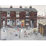 """TERRY ALLEN (Stockport) OIL PAINTING ON CANVAS 'Foys Entry, Stockport' Signed lower left 13 1/4"""" x"""