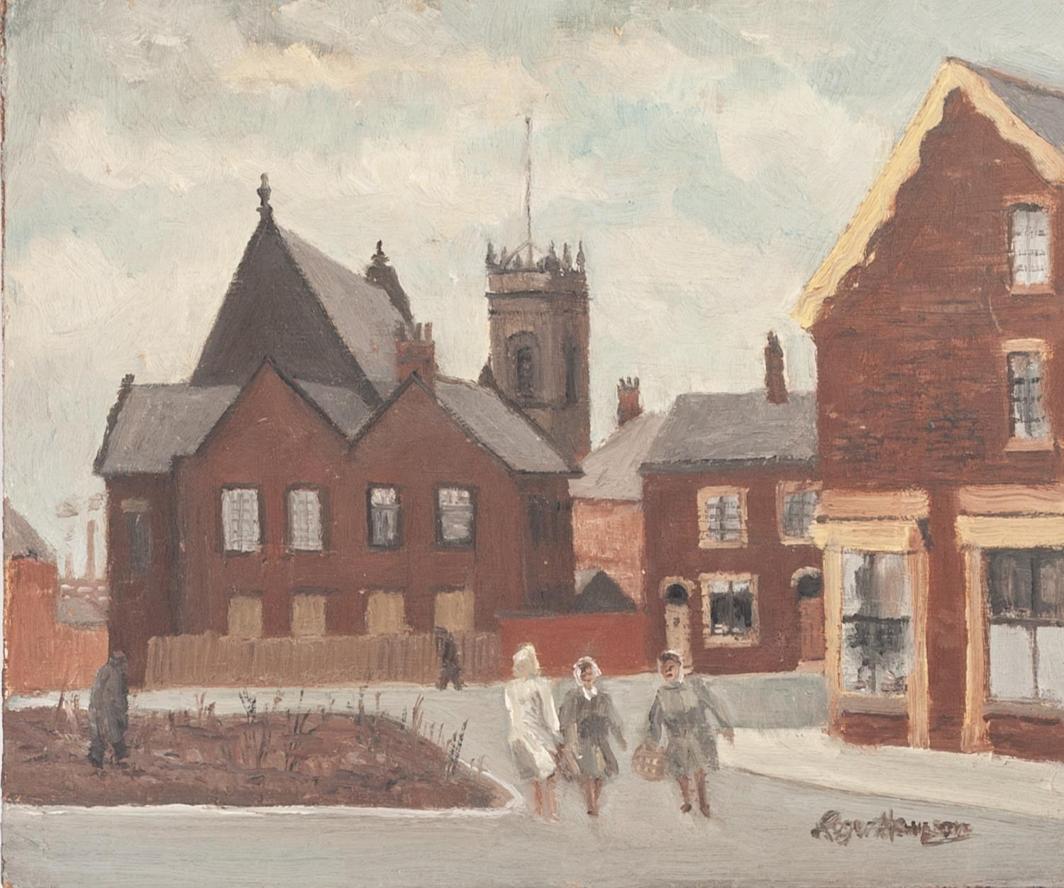 Lot 64 - ROGER HAMPSON (1925 - 1996) OIL PAINTING ON BOARD 'Davenport Street, Bolton' Signed, titled and