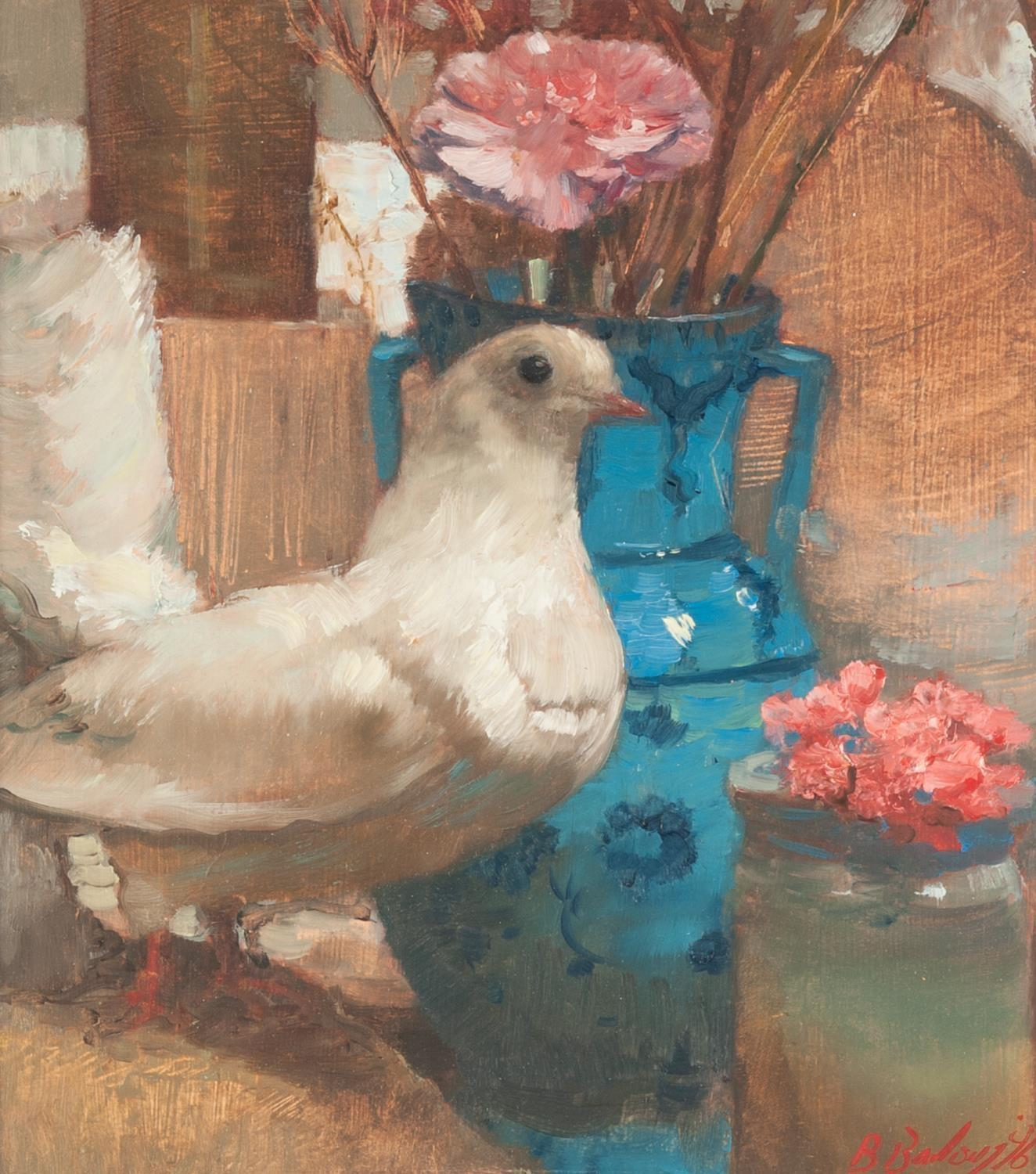 Lot 15 - BOHUSLAV BARLOW (b.1947) OIL ON BOARD ?Persian Blue?, pigeon and two handled vase of flowers