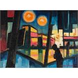 STANLEY FRYER (1906 - 1983) OIL PAINTING ON BOARD 'Buses in Manchester Piccadilly Gardens' Signed