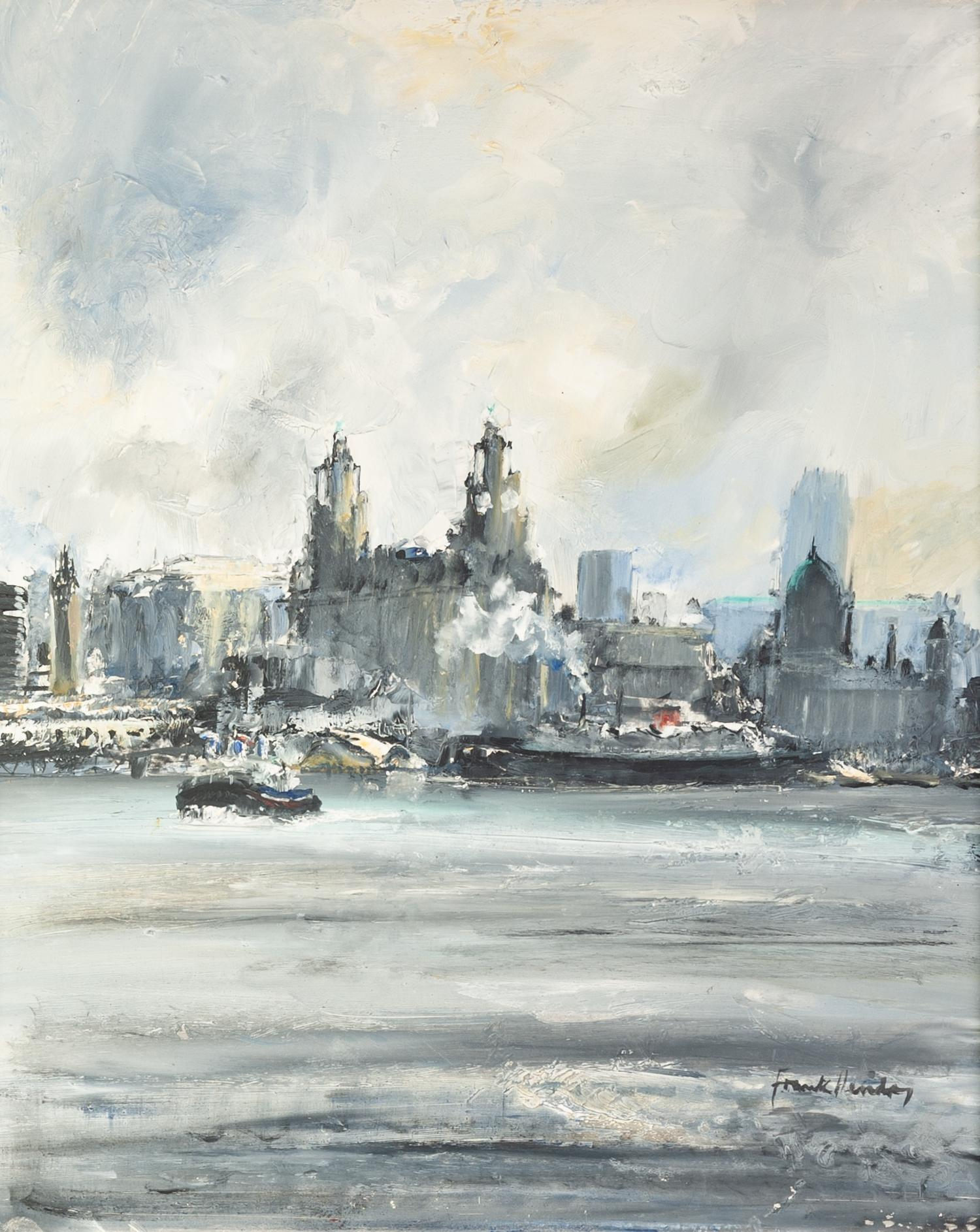 Lot 67 - FRANK HENDRY (TWENTIETH CENTURY) OIL ON BOARD View of Liverpool from the river Mersey Signed 17? x