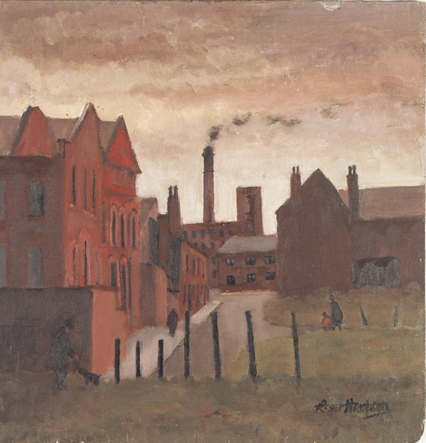 Lot 65 - ROGER HAMPSON (1925 - 1996) OIL PAINTING ON BOARD 'Noble Street, Bolton' Signed, titled and numbered