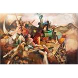 JUNE BURNETT (1936-2010) MIXED MEDIA ON BOARD ?The Raft of Medusa? Signed and titled to label