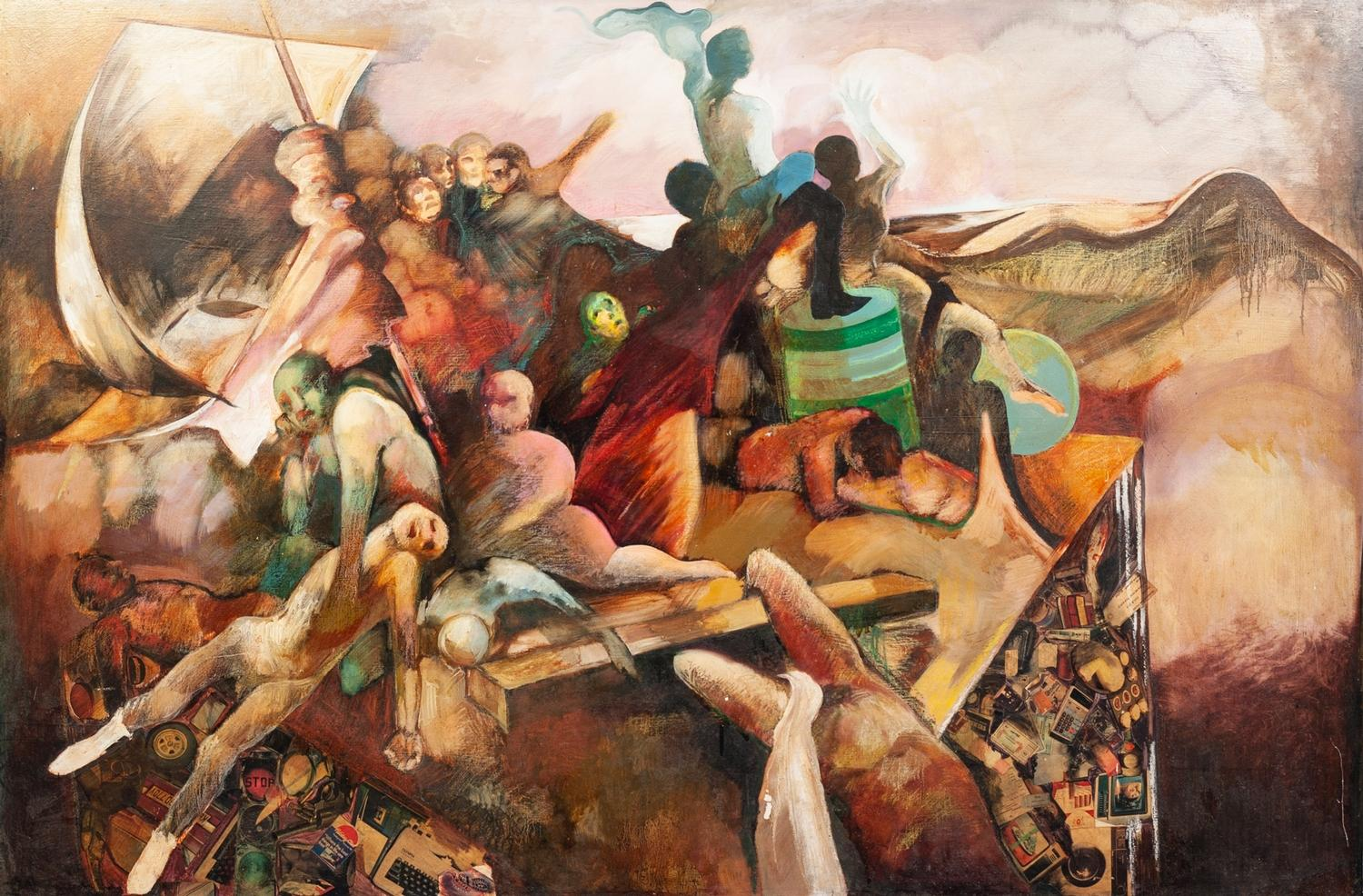 Lot 27 - JUNE BURNETT (1936-2010) MIXED MEDIA ON BOARD ?The Raft of Medusa? Signed and titled to label