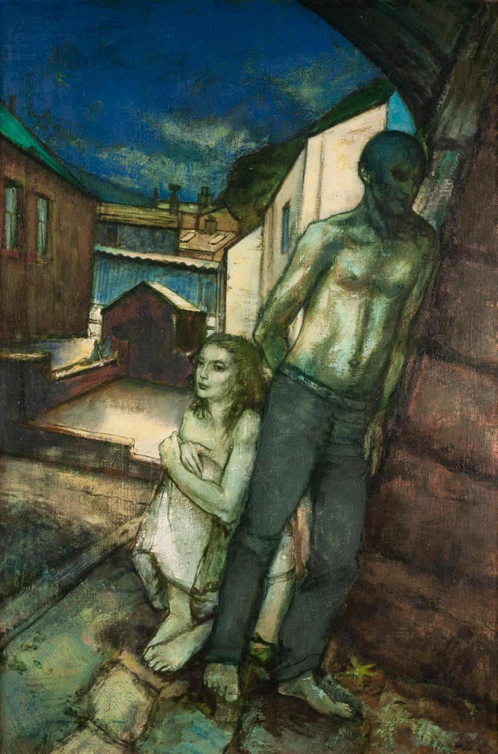 Lot 7 - BOHUSLAV BARLOW (b. 1947) OIL ON CANVAS ?The Blue Arch? two figures beneath an archway Signed, title