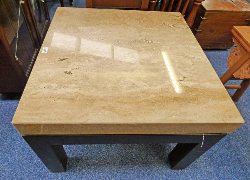 Lot 5199 - 21ST CENTURY ITALIAN MARBLE TOPPED SQUARE LAMP TABLE 57CM TALL X 75CM