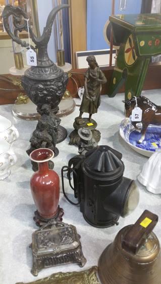 Lot 55 - Spelter, lamp, bell, figures etc.