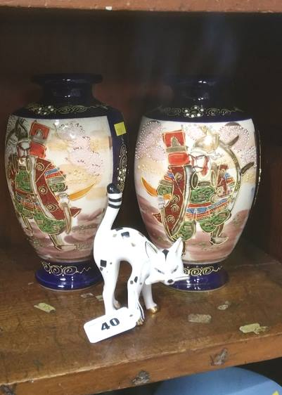 Lot 40 - Pair of Satsuma vases and a cat