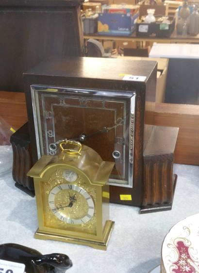 Lot 51 - Oak clock and a small clock