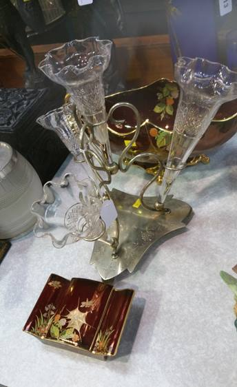 Lot 11 - Epergne and two pieces of Carlton Ware