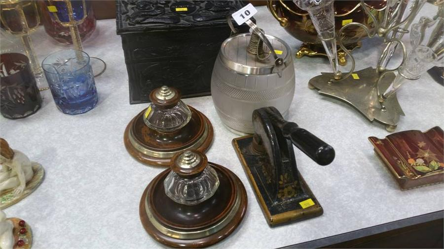 Lot 10 - Pair of inkwells, blotter etc.