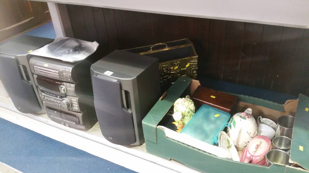 Lot 4 - Box of china and a JVC stereo