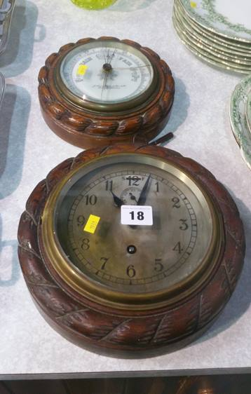 Lot 18 - Rope twist clock and a barometer