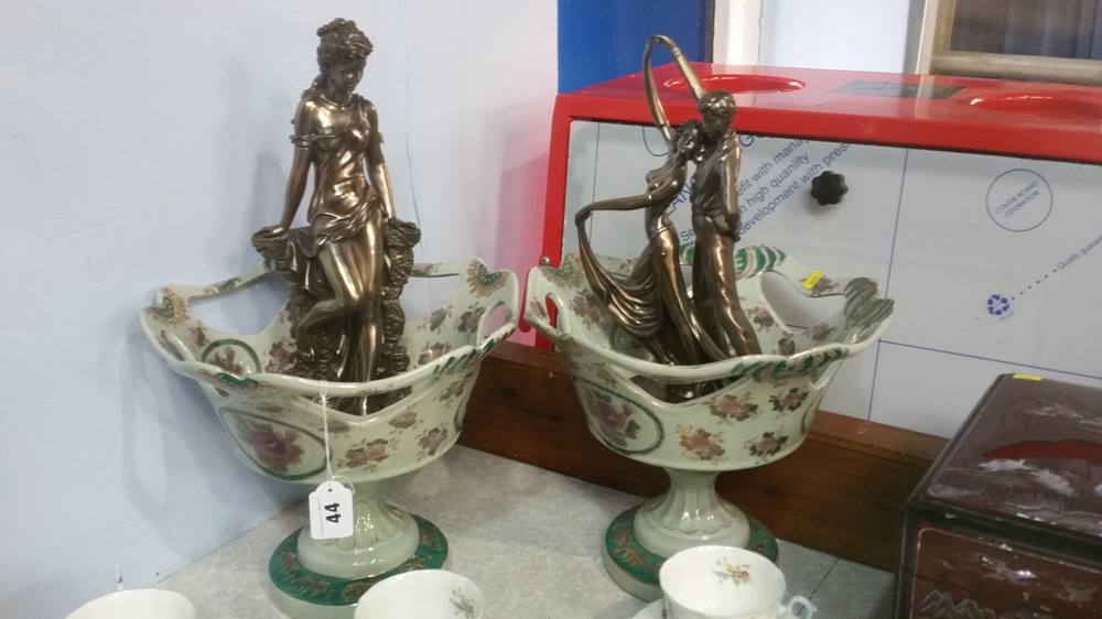 Lot 44 - Pair of baskets and pair of figures