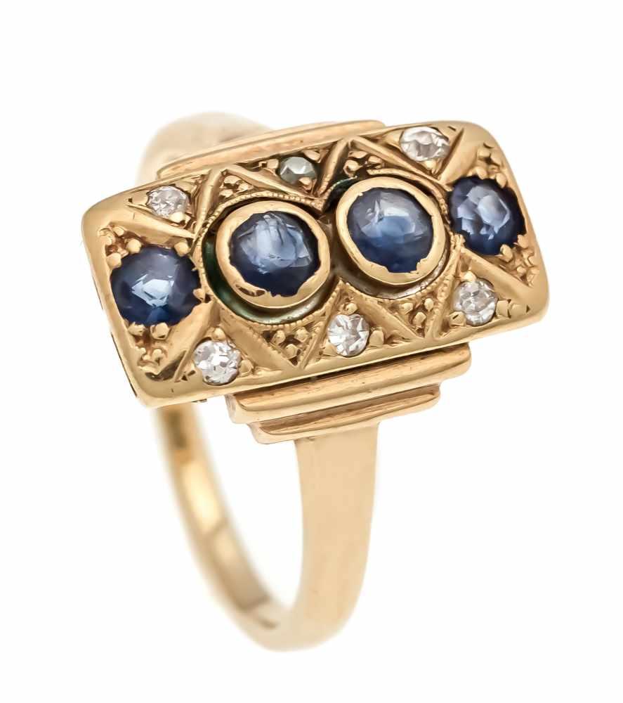 Saphir-Altschliff-Diamant-Ring GG/WG 750/000 mit 4 rund fac. Saphiren 2 - 1,5 mm in guterFarbe und 6