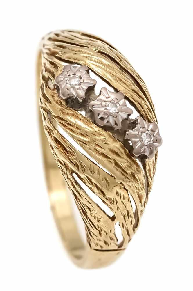 Brillant-Ring GG/WG 585/000 mit 3 Brillanten, zus. 0,08 ct W/SI, RG 57, 2,8 gBrilliant ring GG /