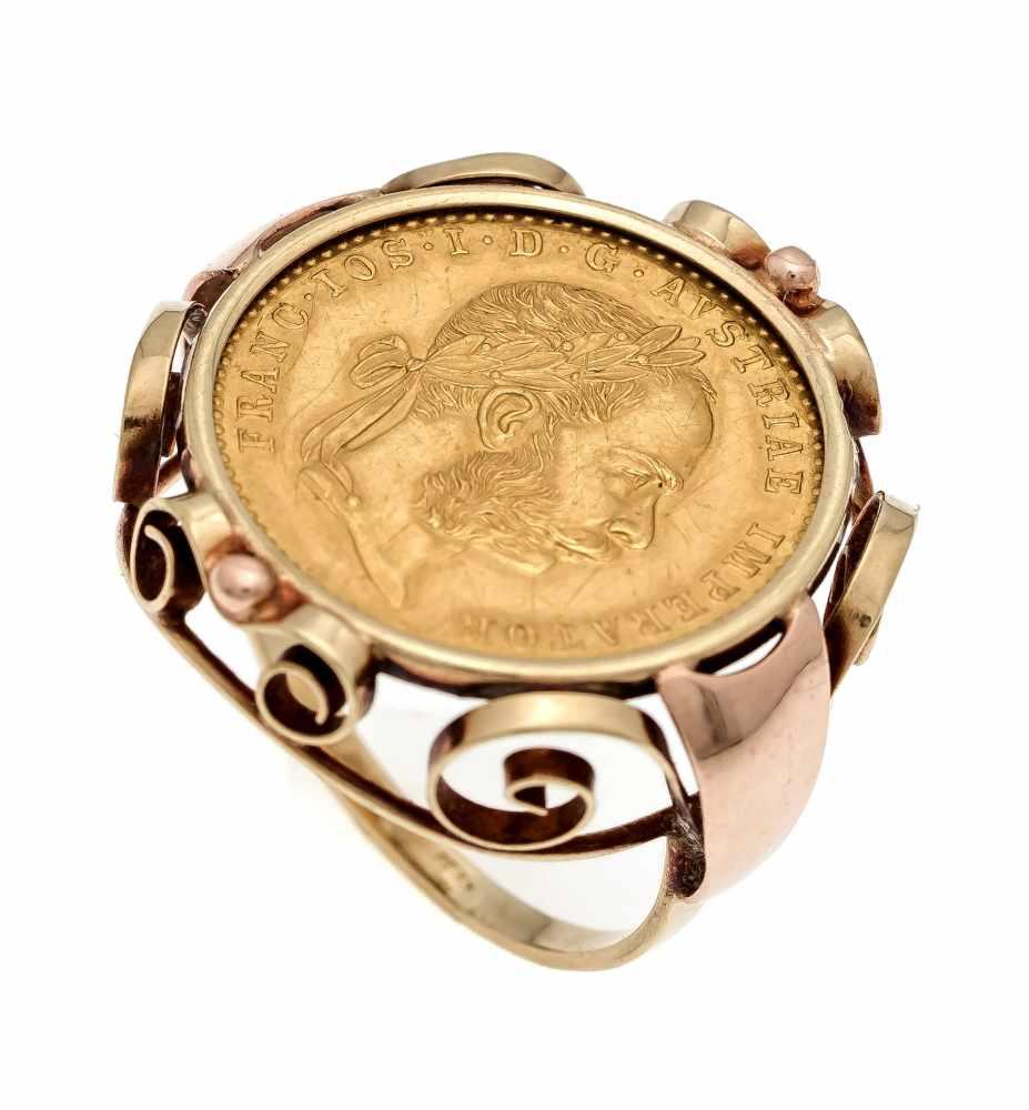 Münz-Ring GG 750/000 mit einer Goldmünze 986/000 1 Dukat 1915, RG 53, 6,7 gCoin ring GG 750/000 with