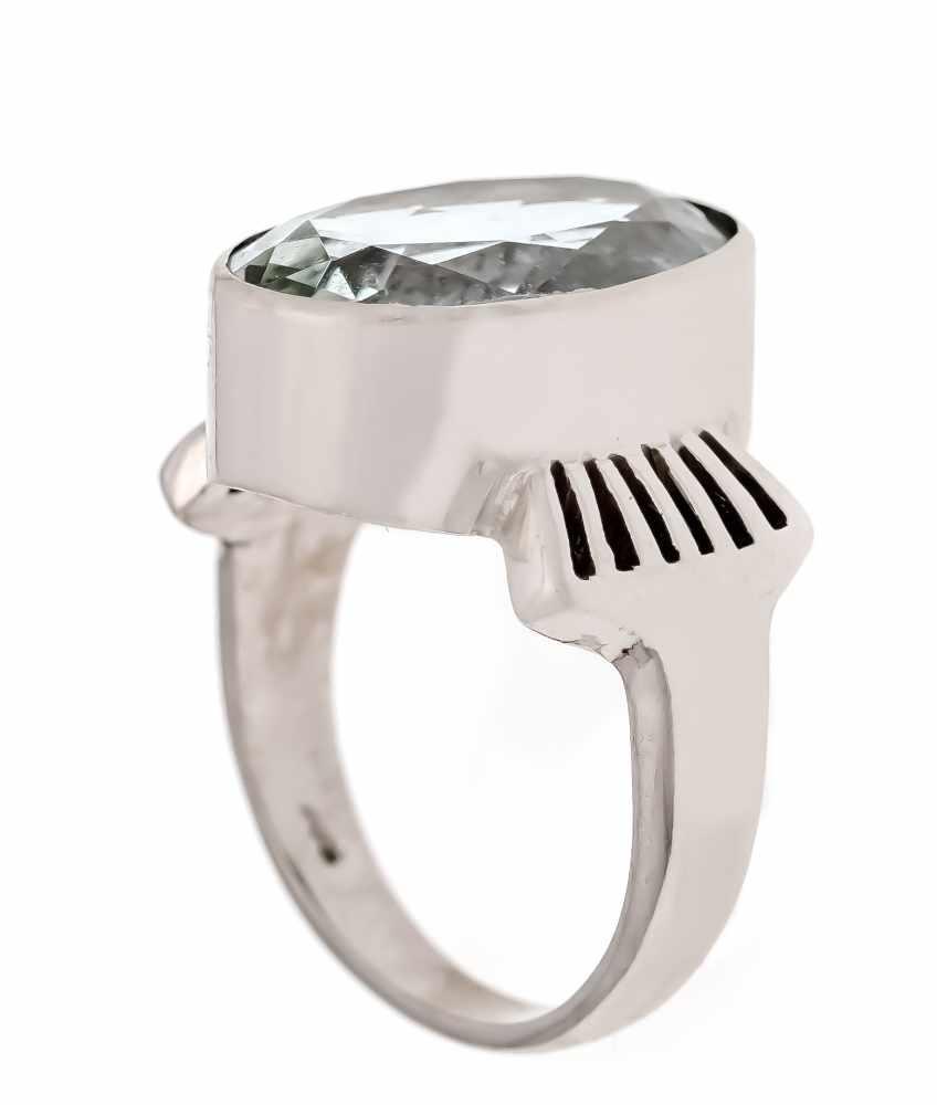 Aquamarin-Ring WG 585/000 mit einem oval fac. Aquamarin 16 x 11 mm, RG 53, 7,0 gAquamarine ring WG - Bild 2 aus 2
