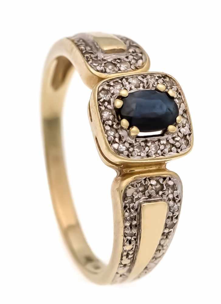 Saphir-Diamant-Ring GG/WG 585/000 mit einem oval fac. dunkelblauen Saphir 5 x 4 mm undDiamanten,