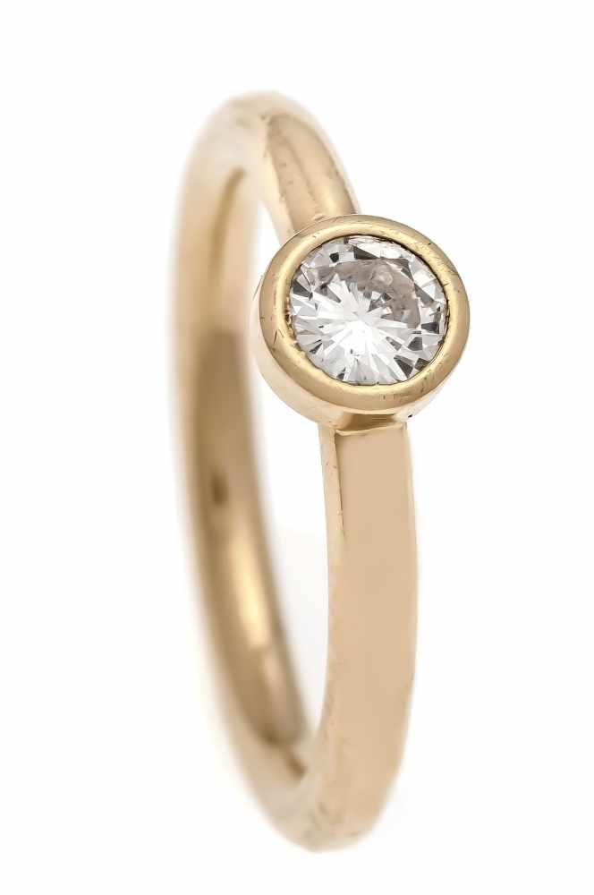 Brillant-Ring GG 750/000 mit einem Brillanten 0,30 ct l.get.W/VVS, RG 54, 5,2 gBrilliant ring GG