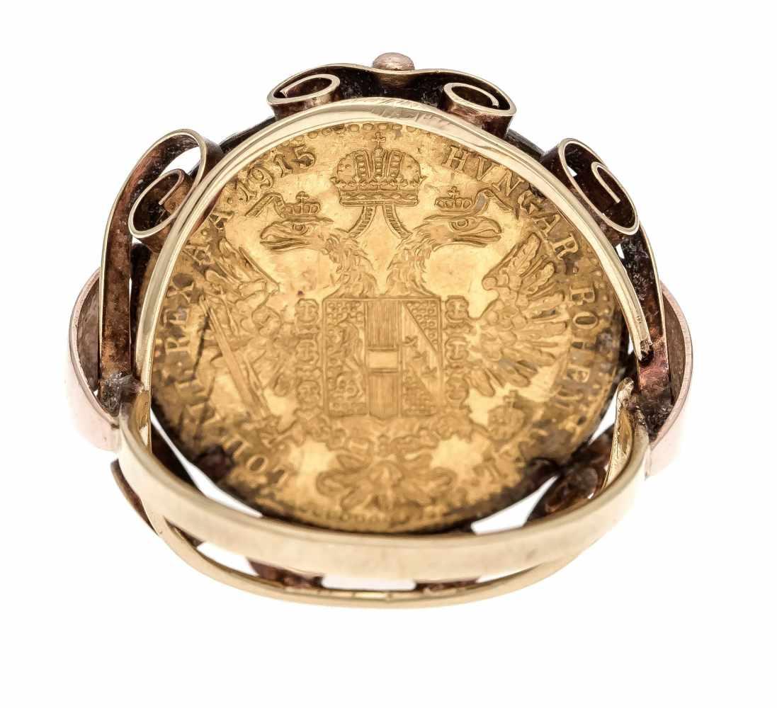 Münz-Ring GG 750/000 mit einer Goldmünze 986/000 1 Dukat 1915, RG 53, 6,7 gCoin ring GG 750/000 with - Bild 3 aus 3