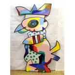 """""""Bunter Vogel II"""" - Otmar Alt (*1940) Öl auf Holz, dreischichtige und dreidimensionale,"""