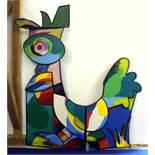 """""""Bunter Hahn I"""" - Otmar Alt (*1940) Öl auf Holz, fünfschichtige und dreidimensionale, farbenfrohe"""