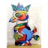 """""""Bunter Vogel I"""" - Otmar Alt (*1940) Öl auf Holz, dreischichtige und dreidimensionale, farbenfrohe"""