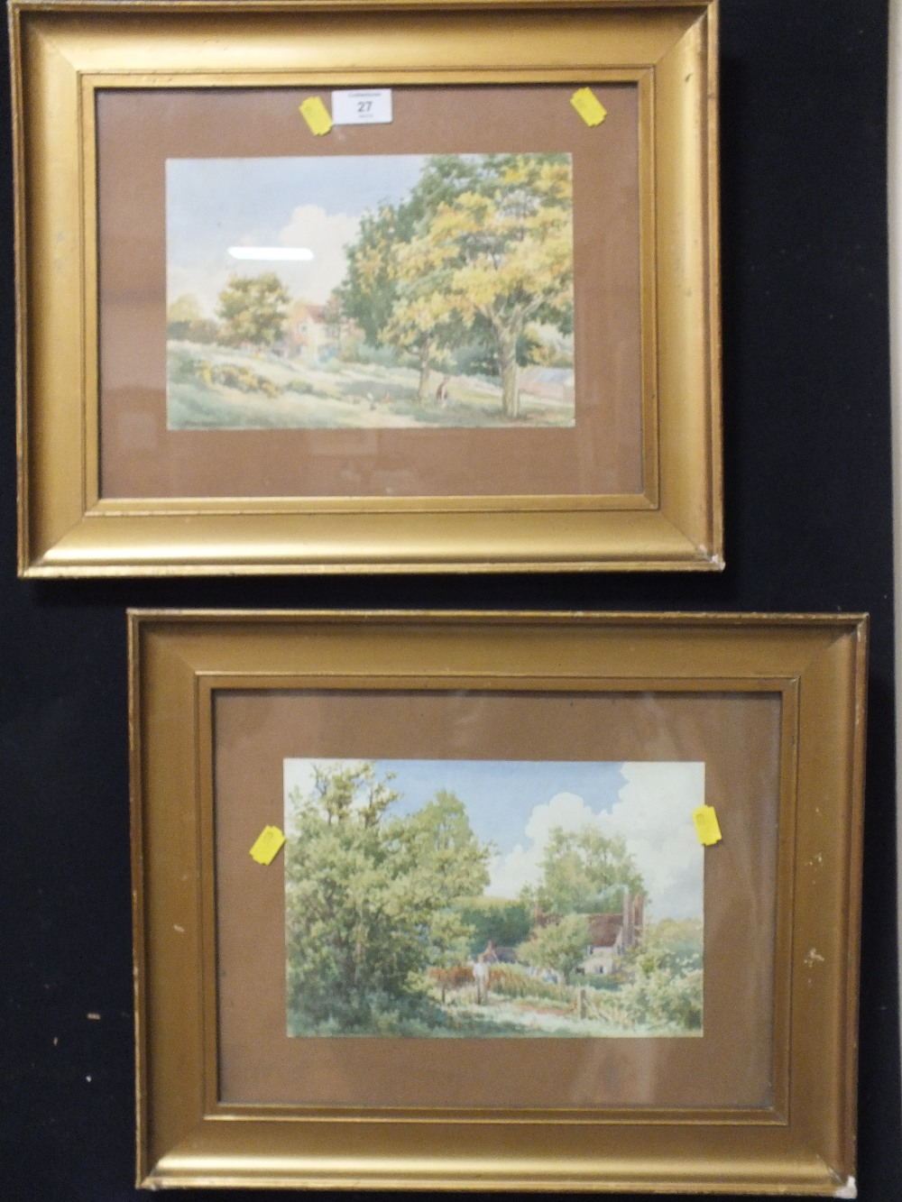 Lot 27 - A PAIR OF GILT FRAMED AND GLAZED WATERCOLOURS SIGNED FRED C BRETTEL DEPICTING RURAL SCENES WITH