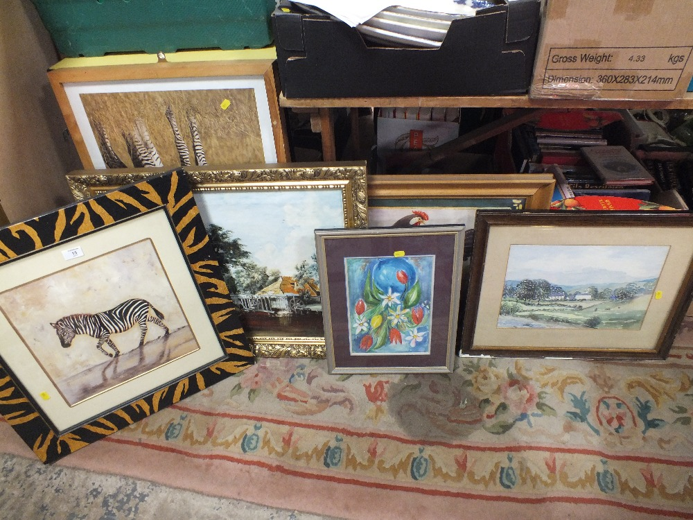 Lot 15 - A COLLECTION OF PICTURES AND PRINTS TO INCLUDE GILT FRAMED OIL ON CANVAS, WATERCOLOUR ETC