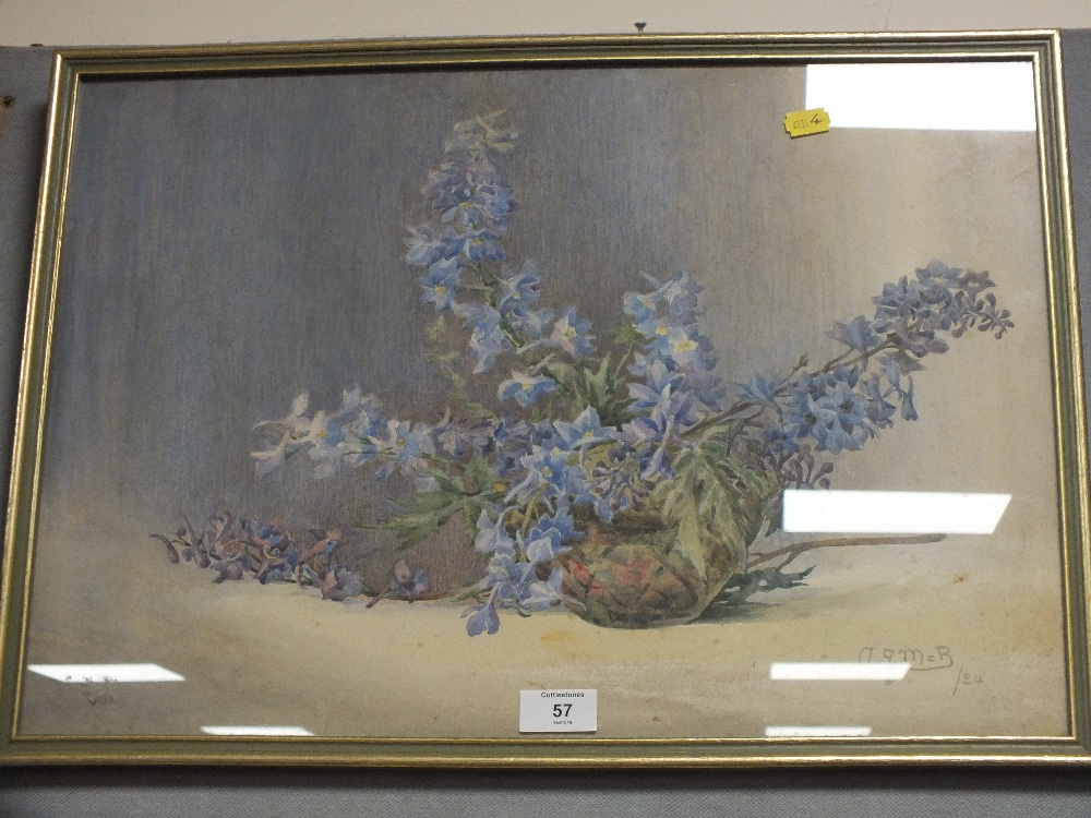 Lot 57 - A FRAMED AND GLAZED WATERCOLOUR BY A J MANNINGHAM-BUTLER DEPICTING A STILL LIFE STUDY OF FLOWERS