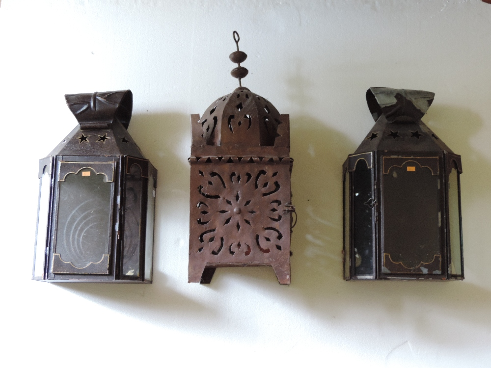 Lot 36 - A pierced metal Mosque Lamp, and a pair