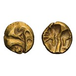 Lot of three gold quarter staters, Celtic Britain. .