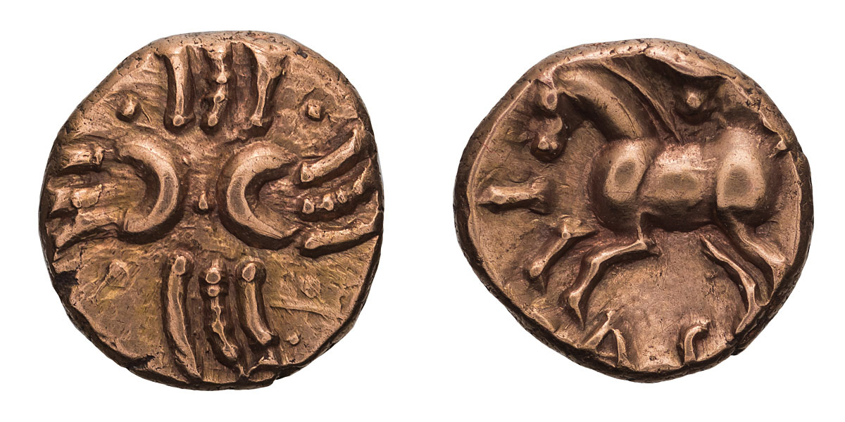 Lot 32 - Celtic Britain, Catuvellauni. Tasciovanos. Semi-Spiral type, Gold Quarter Stater.