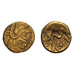 Gallo-Belgic Celts. Triple-tailed horse type, Gold Stater.