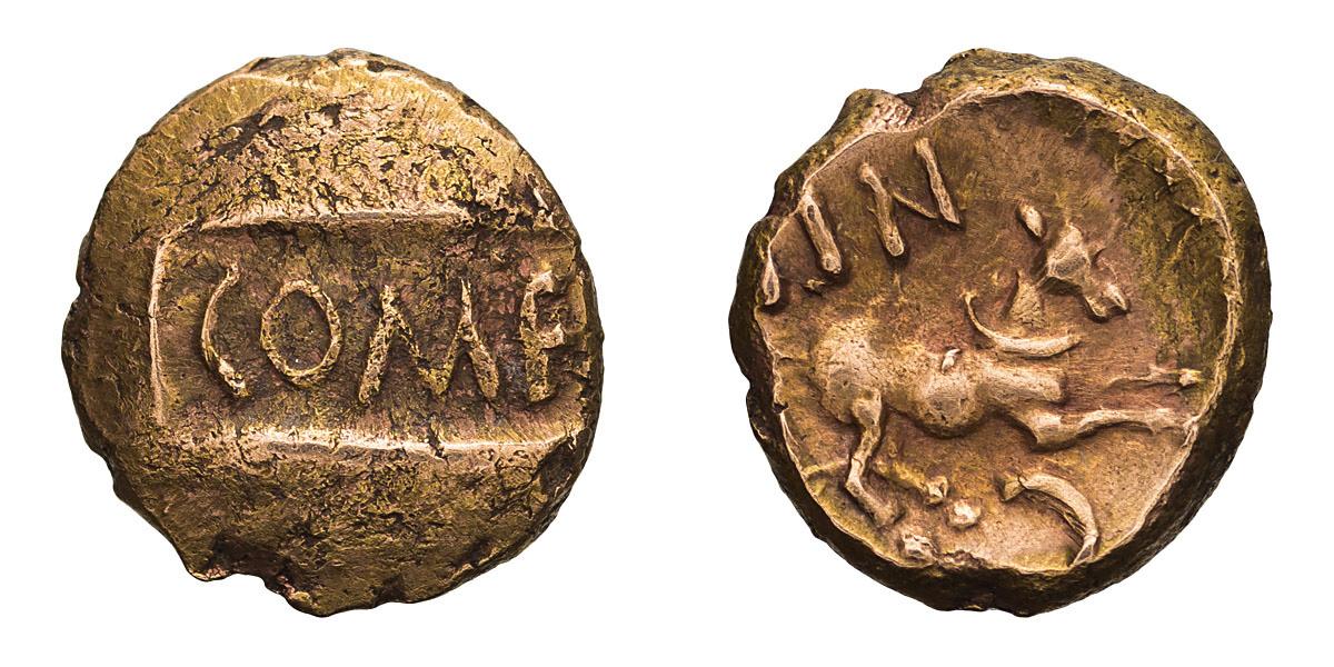 Celtic, Britain, Atrebates. Tincommius. Gold Quarter Stater.